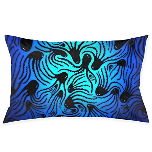 LESLIEYU Ultra-Soft Pillow Protectors Cases Covers, Blue Ocean Black Octopus Rectangle Sofa Pillowcases Shams with Zippered, Waist Cushion Throw Pillow Cover for Couch Bed Bedroom Chair (20 x 30)
