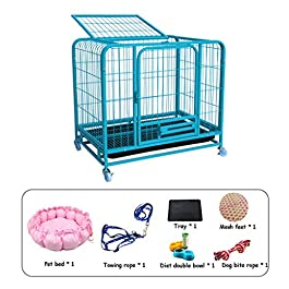 Dog Cage Rabbit Cage Cat Cage Balcony Animal Cage Outdoor Metal Thickened Pet Cage Indoor Pet Toilet With Toilet Crates & Kennels