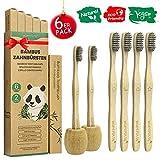 Brosse a Dent Bambou Paquet de 6 + 2 Porte Brosse à Dents, Zero Dechet Brosse a Dent Biodégradable...