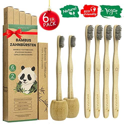 6er Pack Bambus Zahnbürsten + 2 Zahnbürstenhalter, Vegan Holzzahnbürste für Beste Sauberkeit, 100{7364fa7a5f4a0c6fdc780e45c98c4f2ba9037392425fb62d9c7e2e775682b433} BPA frei Bambuszahnbürste mit weich Bambuskohle Borsten, Verschieden Marker und Recycelbar Packung