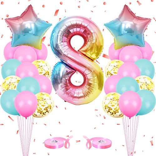 onehous Luftballon 8. Geburtstag Rosa, Geburtstagsdeko 8 Jahr Mädchen, Ballon 8 Geburtstag, Riesen Folienballon 8 Rosa, Zahlenballon 8 Deko zum Geburtstag