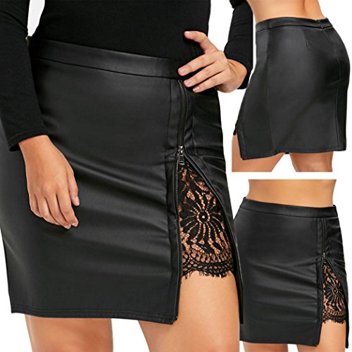 SHOBDW Carnaval Mujeres de Moda niñas de Cuero de Encaje Uniforme Plisado Falda (Negro, XL)