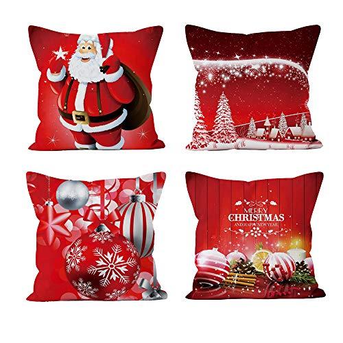 gotyou 4 Pezzi Federa di Natale, Copricuscini Natalizi, Natale Babbo Alce Cuscini per divani Decorativo Cotone Biancheria Cuscino copricuscini Divano Caso Federa per Cuscino(45x45 cm)