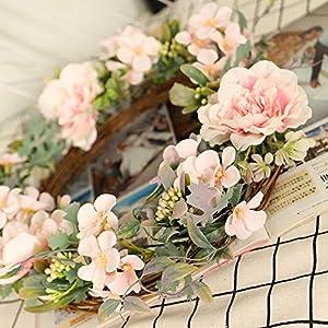 Printasaurus New Camellia Wreath Wreath Wall Hanging Home Artificial Flower Decoration Spring, Home & Garden Home Decor
