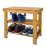 SoBuy FSR02-K-N Etagère à chaussures, Banquette en bambou haute de gamme, Rangement...