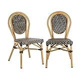 blumfeldt Montpellier BL Stuhl Bistrostuhl - stapelbar, Aluminiumrahmen, Polyrattan, Beine mit Pulverbeschichtung, einfache Reinigung, wetterfest, schwarz-Creme