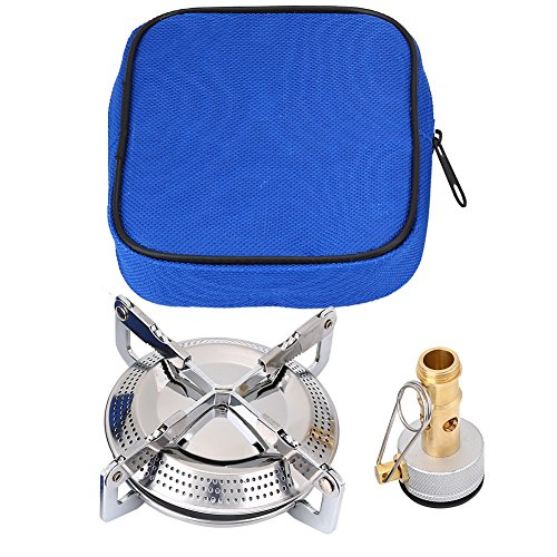 Alomejor Camping Stove Burner Portable Camping Gas Stove Mini Windproof Backpacking Stove Outdoor Cooker Burner with Stove Connector Storage Bag for Outdoor Hiking Picnic BBQ