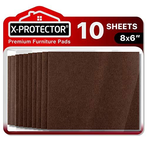 X-PROTECTOR Filzgleiter selbstklebend - 10 Stück Filzgleiter Groß - Premium Filz selbstklebend 20x15cm Heavy Duty 5 mm! Geschnittene Möbelgleiter für Möbelfüße - Klebepads zum Schutz Ihre Holzbodens