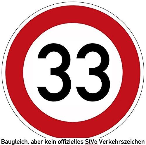 30-39 (km/h) Verkehrszeichen als Geburtstagsschild 60 cm Durchmesser, Aluminium Reflektierend (33)