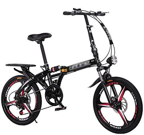 Freno de disco de velocidad variable plegable para bicicleta puede ser utilizado por adultos y hombres y mujeres ligero estudiante portátil con bicicleta pequeña negra de 20 a 20 pulgadas _negro