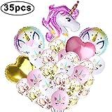 Mukum Lot de 35 ballons pour confettis licorne
