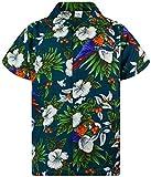 King Kameha Funky Camicia Hawaiana, Cherry Parrot, Verde Benzina, XS