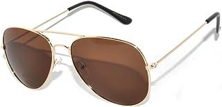 Stylish Aviator Brown Lens Sunglasses Gold Metal Frame