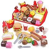 GILOBABY Küchenspielzeug und Essen Spielen Set für Kinder,Spielzeug für Rollenspiel,Pädagogisch Spielzeug für Kinder/Kleinkinder,Geschenk für Jungen/Mädchen
