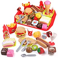 【 Rich Food Toys】Full funny set includes 1 hamburger,1 hot dog, 4 cakes, 1 strawberry, 1 kiwi fruit, 1 Orange, 1 cream chocolate, 1 ice cream, 1 coke, 1 chips, 1 cherry syrup, 1 cup, 2 heart biscuits, 1 knife, 1 fork, 1 spoon, 6 small dishes, 1 big d...