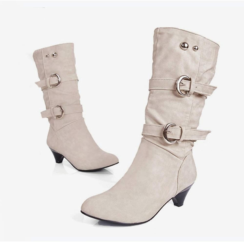T-JULY Women Mid Calf Boots Autumn Zipper Buckle Strap Mid Heels Female shoes Comfortable Fashionable Ladies Footwear