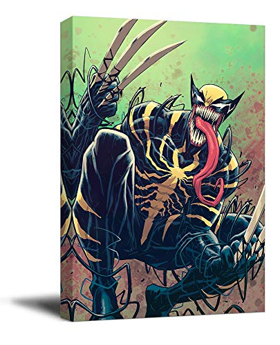 Wolverine Kunstdruck auf Leinwand, gerahmt, 40,6 x 61 cm, Motiv X Men Wolverine & Venom