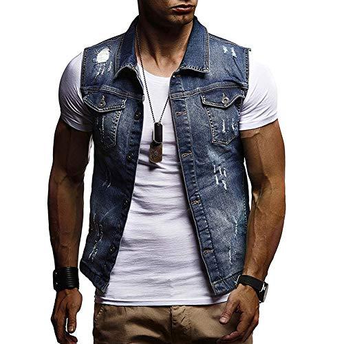 CHIYEEE Heren Retro Demin Gilets Ripped Mouwloos Jas Jeans Vest Waistcoat Top Vest met Hood M-XXL