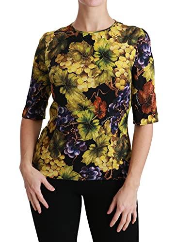 Dolce & Gabbana Blusa de la parte superior de la camiseta del estiramiento de seda floral