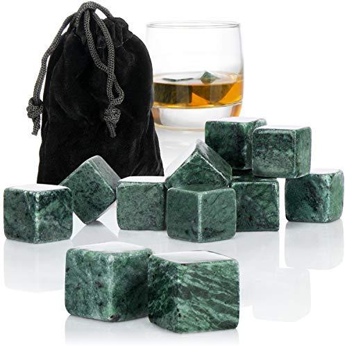 com-four® 12x Whisky Steine in Granitoptik - Kühlsteine für Whiskey mit Aufbewahrungsbeutel aus Stoff - kein Verwässern mehr (Granitoptik grau V3-12 Stück)