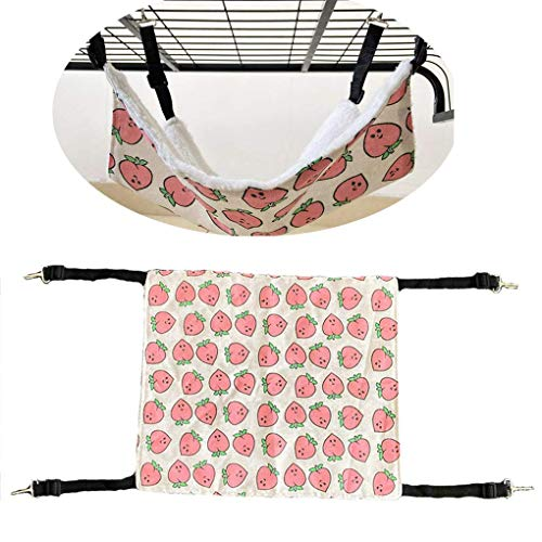 N-brand Hamaca para gatos cómoda para colgar de la jaula de mascotas, suave y cálida cama para mascotas para gatitos, hurones, cachorros, ratas, conejos u otros animales pequeños