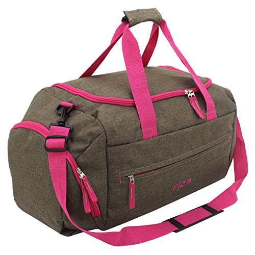 F|23 Groß, Polyester, Reisetasche, 56 cm, 20 L, Braun/Pink