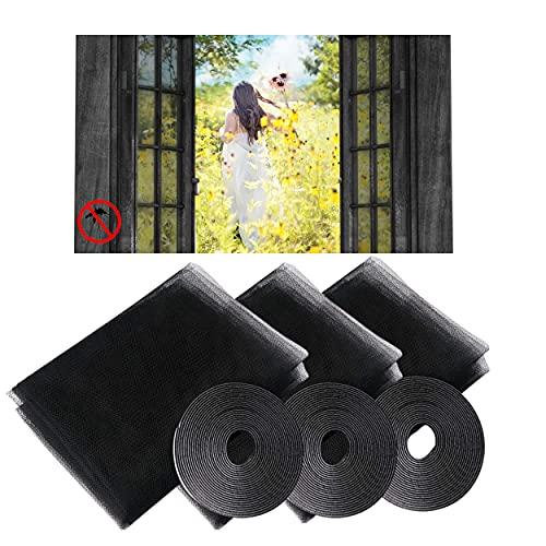 Alfiya - Juego de 3 mosquiteras para ventanas (130 x 150 cm), color gris antracita