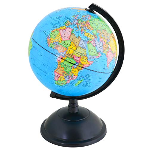 EXERZ 20cm Mappamondo Girevole/Educativo Globo - in Inglese - Diametro (20cm)