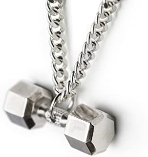 Dumbbell Necklace Sterling Silver Seven Sided Dumbbell Pendant Fitness Necklace Gym Jewelry Crossfit Charm Workout Gifts