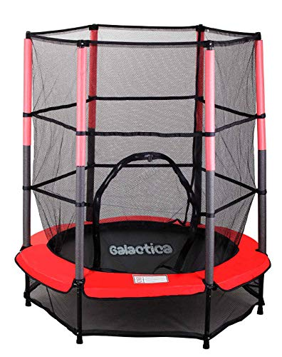 WestWood GALACTICA NEW Mini Trampoline | 4.5FT 55' with Safety Net Enclosure | Indoor Outdoor Children's Activity Junior Trampoline - Red