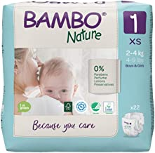 Bambo Nature Premium Baby Diapers - XS Size, 22 Count, for Newborn Baby - Super Absorbent, Eco-Friendly and with a Wetness...