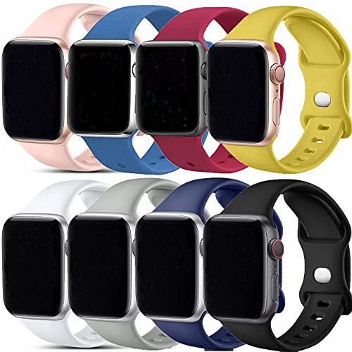 VIKATech Correa compatible para Apple Watch de 40 mm y 38 mm, correa suave de repuesto de silicona para iWatch Series 6/5/4/3/2/1, S/M, 8 unidades
