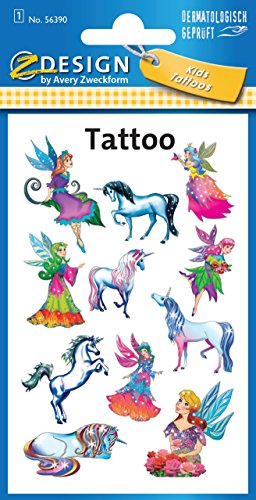 AVERY Zweckform 56390 Tattoo Kinder 11 Stück (Temporäre Tattoos Elfen, Kinder Tattoo wasserfest, Klebetattoos, Kindergeburtstag, Mitgebsel, Partyspiele Preise, Kinder zum Spielen, Tattoo Mädchen)