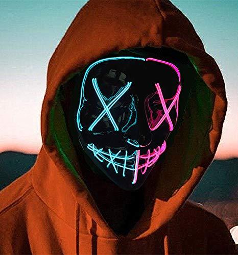 AvviKro Maschera di Halloween, Maschera di spurgo a LED, Maschera di Halloween Spaventosa Maschera di Halloween per Adulti, Uomini e Donne. (blu e rosa)