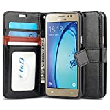 J&D Case Compatible for Galaxy On5 2015 Case, Wallet Stand Slim Fit Heavy Duty Shock Resistant Flip Cover Wallet Case for Samsung Galaxy On5 2015 Wallet, Not for Galaxy On5 2016, Black