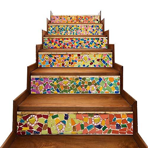 TONGXU 6PCS Pegatinas Adhesivos Autoadhesivos para Escaleras Cocina Piso Baño Decoración Vintage Multicolor Multi-estilo Hogar Impermeable Extraíble Etiqueta de Pared 18x100cm (Azulejos de Colores)