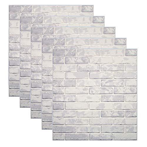 Carta da Parati Mattoni Bianco 3D, Kasliny parete smontabile e bastone adesivo per parete in PE 2.69m2 (5 pezzi mattoni Stile 5)