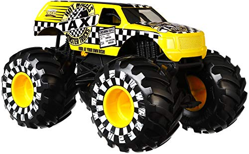 Hot Wheels Monster Trucks TAXI die-cast 1:24 scale vehicle with Giant Wheels for kids age 3 to 8 years old great gift toy trucks large scales