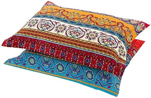 2 Pack Bohemian Pillowcase King for Hair 20x36 Boho Orange Red Aqua Striped Pillow Shams Exotic Envelope Closure Soft Microfiber Bohemia Ethnic Tribal Pillow Cover