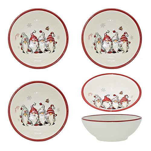 CREOFANT 4er Set Schüssel Wichtel Design · Schüssel Dolomit · Schüssel Weihnachten · Schale für Kekse · Weihnachten Geschirr