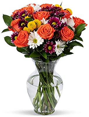Benchmark Bouquets Life is Good Flowers Orange, With Vase (Fresh Cut Flowers) from Kendal Floral Supply Llc - Dropship