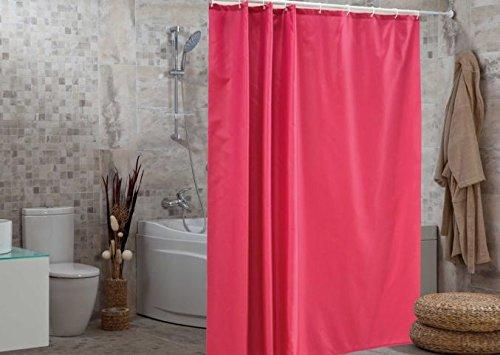 wohnideenshop WOHO50030 Duschvorhang Uni, Textil 240 x 200 cm inklusive Ringe, pink