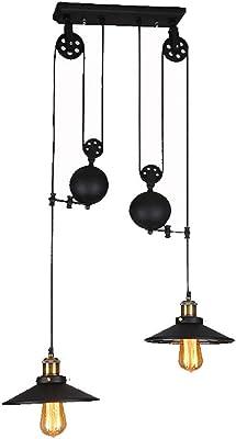 Pendant Light Vintage Industrial Pulley Chandelier-2 Lights with Glass, COCOL Chandelier for Restaurant Club Bar Cafe Loft Living Room Study Room, Iron Pendant Light Black Vintage E27