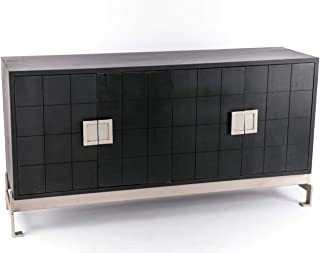 Aparador Madera y Metal Moderno Negro/ Plata 166 x 45 x 83