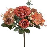 YYHMKB Flores Artificiales-Ramo de Rosas Falsas Peonía, Guirnalda de hortensias para Novia Decoración de Boda Ramo romántico Naranja