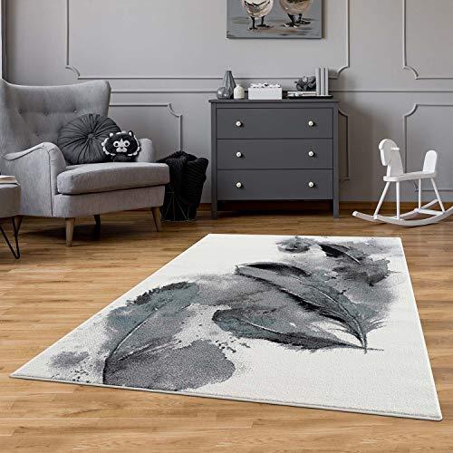 carpet city Kinderteppich Modern Feder - 80x150 cm Creme Grau Blau - Teppiche Jugendzimmer Wohnzimmer