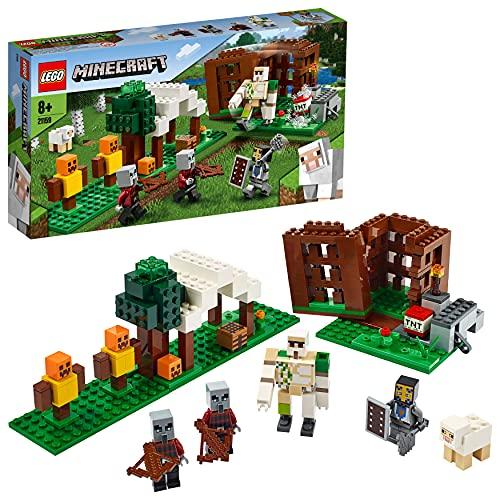 LEGO 21159 Minecraft El Puesto de Saqueadores, Set de Construcción con 4 Figuras de Acción para Construir y Accesorios