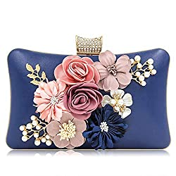 Floral Royal Blue Clutch With Pearls and Rhinestones Purse
