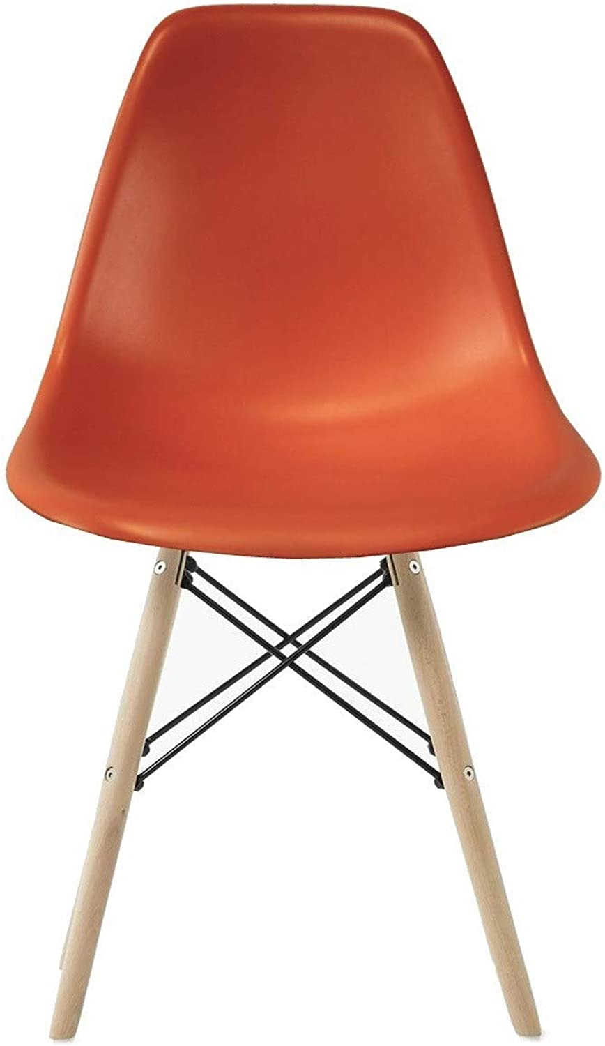 silver Import PDI-PC-0116W Eames Style Side Chair with Natural Wood Legs Eiffel Dining Room Chair, orange