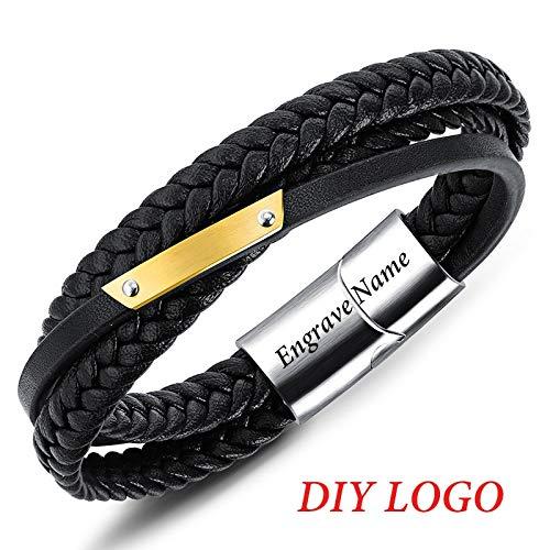 Ifabit armband van echt leer met gravure naam armbanden van roestvrij staal mannelijk knutselen logo koord armband 20 cm logo knutselen